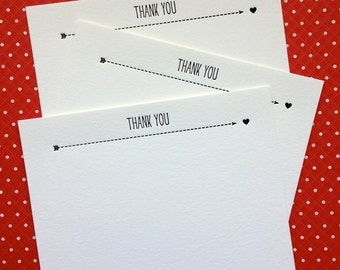Letterpress Thank You - simple hearts (set of 10)