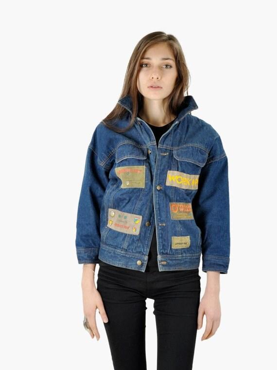 SALE - Vintage Work Wear Dark Denim Patchwork Jacket