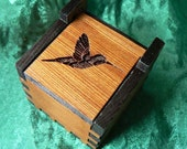 1.5 Art Deco Hummingbird Cedar Self Hinged Ring Box