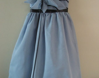 girls Dusty Blue Dress (inspired by the Teapot Alice in Wonderland dress) made to order