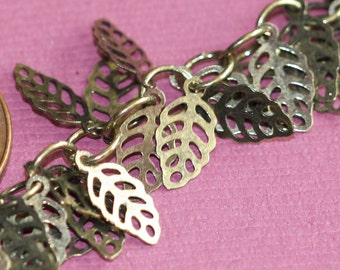 One foot of Antique brass filigree leaf chain 5x9mm