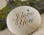 I LOVE YOU- engraved stone gift ready to ship