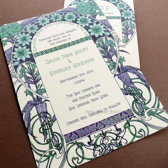 Art Deco Wedding Invitation: Zelda's Garden Wedding Invitations Art Nouveau Art By Dearemma