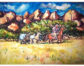 BACK COUNTRY Ride - 11x15 original painting landscape watercolor OOAK, Western, Cowboy, Horse, Pack horse, Southwest,  Mountains