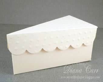 Party Favor Box - Ivory Wedding Favor Box - Paper Slice of Cake Party Favor - Customizable - Paper Cakes - Birthday Party, Bridal Shower