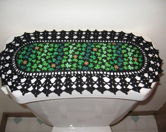 Aunt Roo's MINI St. Patrick's Day fabric runner w/ crocheted edging for toilet tank or small shelf