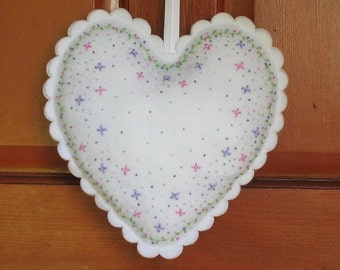 Large Felt Heart Hand Embroidered Beaded White with Pink and Lavender Flowers 11 Inch