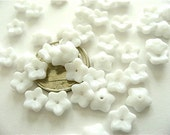 50 Opaque White Flower Caps Spacers Czech Glass Beads 7mm