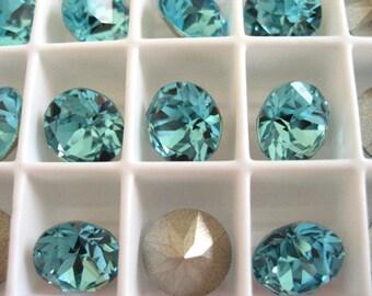 6 Light Turquoise Foiled Swarovski Crystal Chaton Stone 1088 39ss 8mm