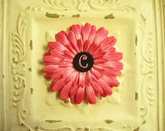 50% OFF--Hot Pink Gerbera Daisy Flower Clip w/ Black Monogrammed Initial Embellishment Button--You Choose Initial