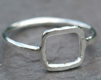 Small Square Ring, Rustic Fine Silver Square,  US Size 5 Ring, Box Ring, Geometric Shapes Ring, Rustic Small Box Ring Maggie McMane Designs