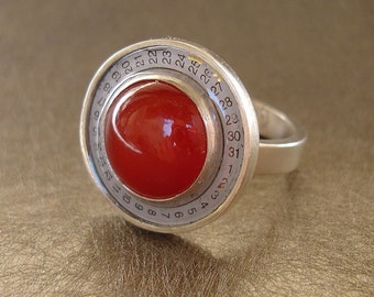 Red Carnelian and Vintage Watch Date Dial Ring - Size 6.25
