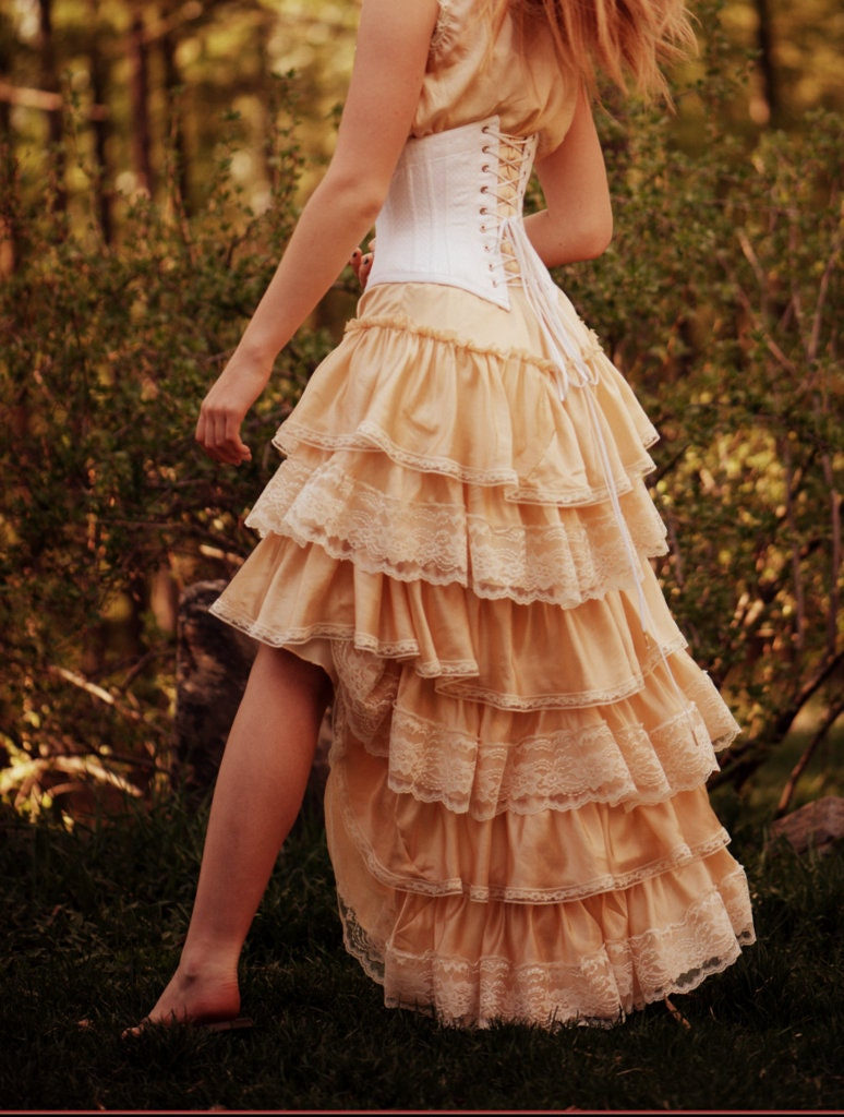 Handmade antique inspired bohemian high low silk ruffled for Old western wedding dresses