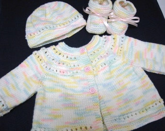 Baby Sweater Set, Hand Knitted Sweater Hat Booties, 3-6 months, Baby Girl, Reborn Doll, Pastel Colors, Shower Gift, Christening, Baptism