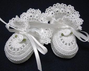 Christening Baby Shoes Christening Baby Booties Crochet White Roses Newborn Girl, Baby Girl Booties, Reborn Doll, Baptism, Baby Shower