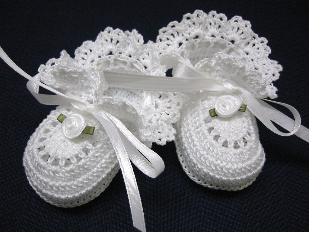 Christening Baby Shoes Christening Baby Booties Crochet White