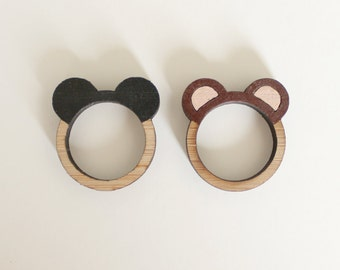 Bear Ears Wooden Ring . Grizzly Bear . Brown Bear