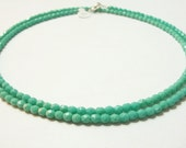32 inch Single Strand Necklace, Turquoise Czech Glass 2 in 1 Choker Necklace