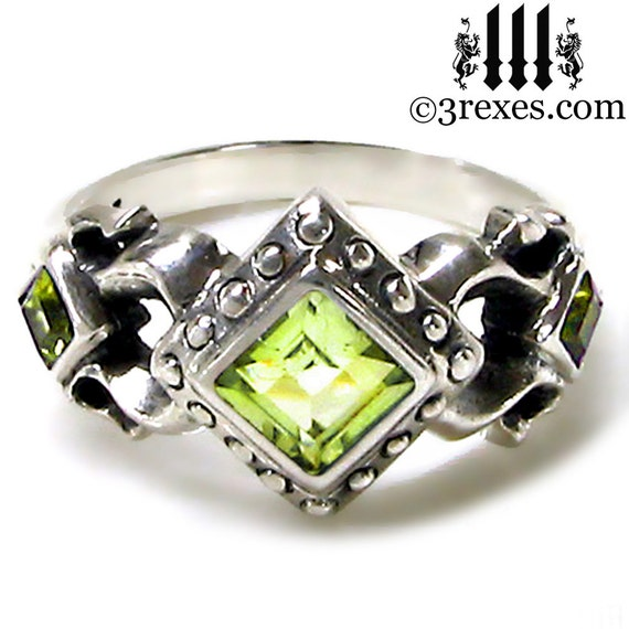 Royal Princess Wedding Ring Green Peridot Stone Gothic Sterling Silver Band Size 8