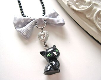 Black  cat Necklace  kawaii cute lolita