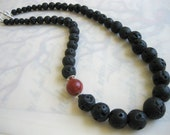 Madame Pele Graduated Lava Necklace with Coral