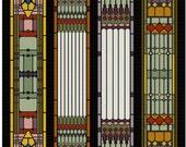 Art Nouveau Stain Glass Panel Cross stitch pattern PDF