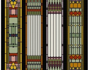 Art Nouveau Stain Glass Panel Cross stitch pattern PDF