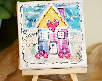 Home Sweet Home Mini House Original Mixed Media Collage Art  4 x 4 Canvas By Charlotte Littlejohn