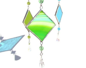 Set of Three Stained Glass Suncatchers Light Catchers Cool Colors
