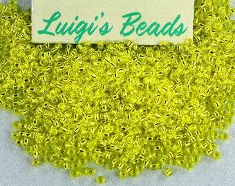 11/0 Round Toho Japanese Glass Seed Beads #32-Silver-Lined Lemon 15g