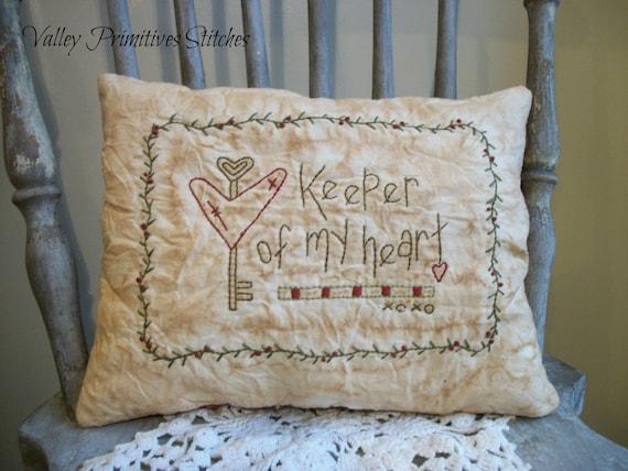 Decorative Valentine Pillow Valentines Day by valleyprimitives