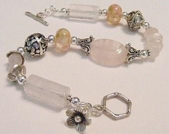 Pink Rose Quartz Bracelet (Tea Rose)  by Gonet Jewelry Design