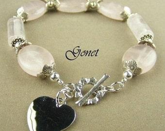 Rose Pink Quartz Bracelet (Promenade)  by Gonet Jewelry Design