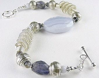 Blue Lace Agate Bracelet (Delphina)  by Gonet Jewelry Design