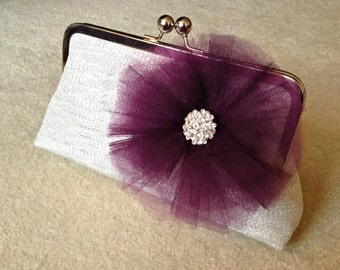 clutch purse with metal frame - brynn in light silver metallic brocade with eggplant tulle flower and rhinestone center