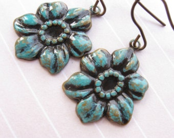 Flower earrings, Verdigris dangle earrings solid brass metal turquoise blue green patina retro new vintage cottage chic woodland shabby gift