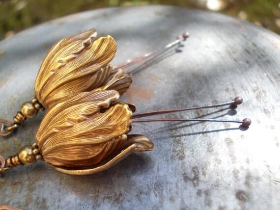 Extra long Tulip dangle Earrings Oxidized brass copper bell flower for women Swarovski crystal pearls woodland inspired Gypsy
