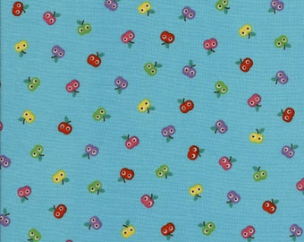 "1 yard 16"" Aqua Blue Apples Momo Fabric Alice Kennedy for Timeless Treasures"