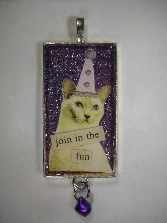 "Siamese Cat Pendant, ""Join in the fun"" kitty in party hat, purple glittering cat pendant"
