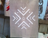 White Geometric Snowflake Linen Tea Towel
