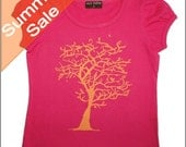 Size 2yr -Hot Pink Puff sleeve T-shirt with Orange Tree