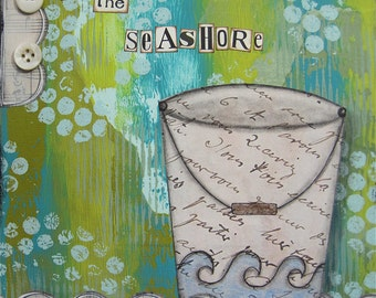 by the seashore - 8 x 8 ORIGINAL COLLAGE by Nancy Lefko