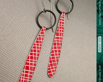Red Picnic Blanket -- Long DripDrops -- Upcycled Tin Earrings