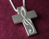 Silver Music Necklace, TREBLE CLEF Cross Pendant - G Clef Cross with Chain, Spiritus Jewelry Collection