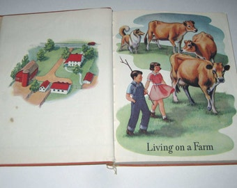 In Country and City Vintage 1940s Children's Oversized Reader or Text Book by The Bobbs Merrill Co.