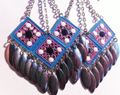 TRIANGLE square BOHO aztec multi colored light beads chain wild plastic chains silver  dropping drop  long oversized unique