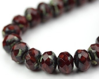 Czech Glass Beads Fire Polished Gemstone Donuts 9x6mm Maroon, White Picasso (12) CZF551