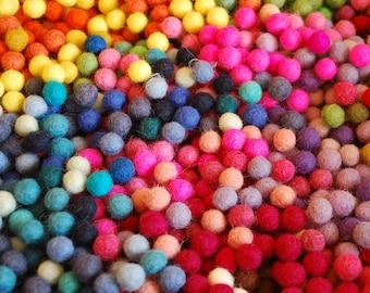 100% Wool Felt Balls - 1cm - 100 Count - Assorted Colors