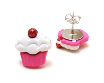 Pink Cupcake Studs - Hypoallergenic nickel free cute dessert earrings with frosting and glitter cherry on top - Super Kawaii