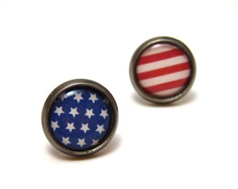 American Flag Studs - Red White and Blue Fourth of July Independence Day themed earrings on 10mm or 14mm circular gunmetal posts - Patriotic